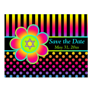 Neon Floral Stripes Bat Mitzvah Save the Date Card