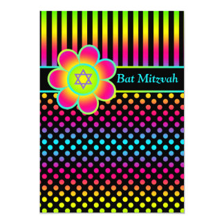 Neon Floral Stripes, Polka Dots Bat Mitzvah Invite