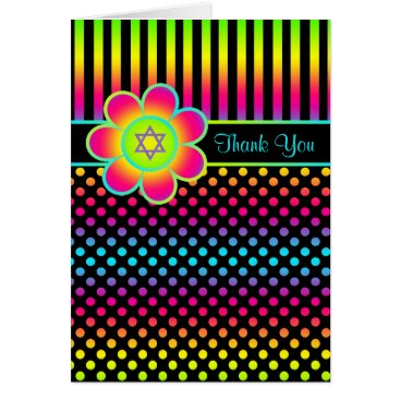 Neon Floral Stripes, Polka Dots Thank You Card