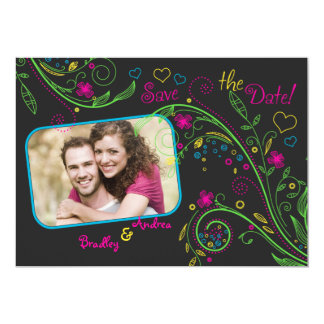 Neon Floral Wedding Photo Save the Date Card