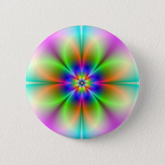 Neon Flower Fractal Button