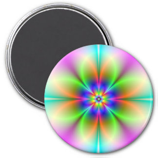 Neon Flower Fractal Magnet