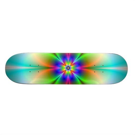 Neon Flower Fractal Skateboard