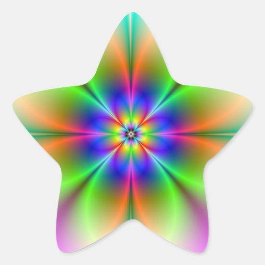 Neon Flower Fractal Stick Star Sticker