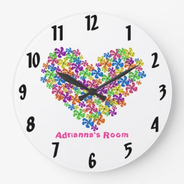 Valentines Themed Neon Flower Heart Large Clock