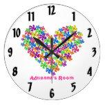Neon Flower Heart Wall Clock