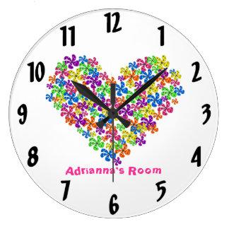 Neon Flower Heart Wall Clocks