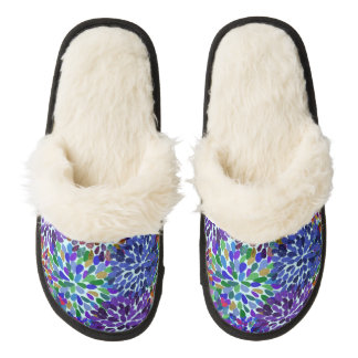 Neon Flower Petals Cozy Slippers Pair Of Fuzzy Slippers
