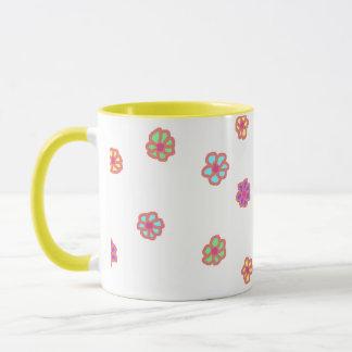 Neon Flower Ringer Mug