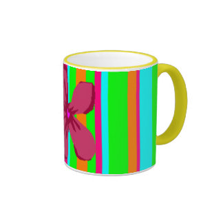 Neon Flower Stripes Mugs