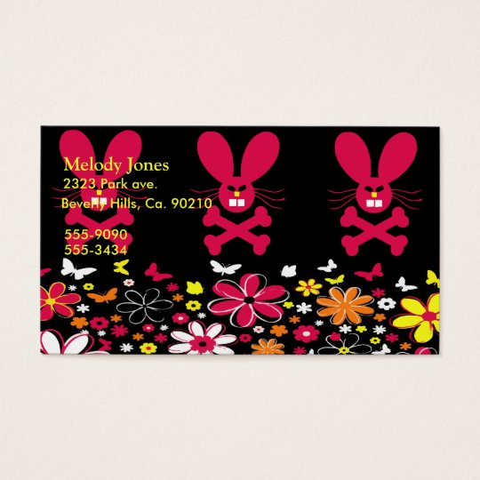 Neon Flowers Bunny Set Business Card