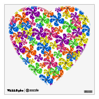 Neon Flowers Heart Wall Decal