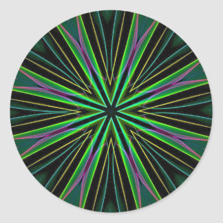 Neon Fluorescent Green Lavender Star Burst Classic Round Sticker