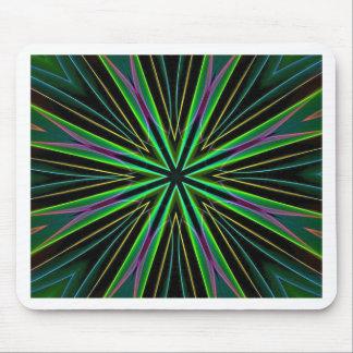 Neon Fluorescent Green Lavender Star Burst Mouse Pad