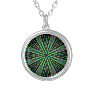 Neon Fluorescent Green Lavender Star Burst Silver Plated Necklace
