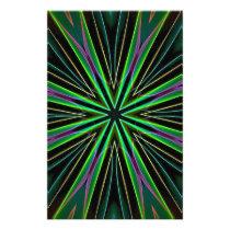 Neon Fluorescent Green Lavender Star Burst Stationery
