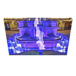 Neon Fluorescent Purple Blue Water Indoor Fountain Canvas Print