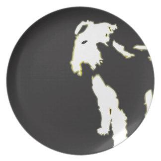 Neon fox terrier melamine plate
