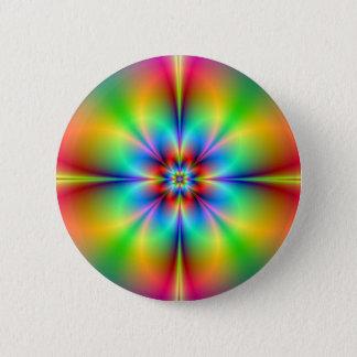 Neon Fractal Flower Button
