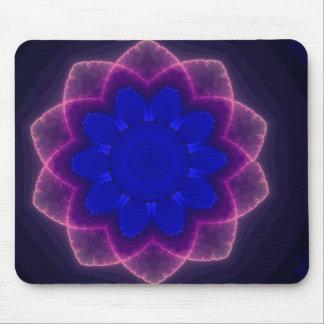 Neon Fractal Flower Mouse Pad