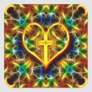 Neon Fractal Heart and Cross Square Sticker