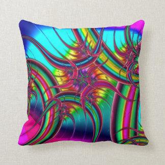 Neon Fractal Throw Pillow