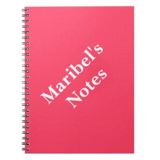 Neon Fuchsia Name College Spiral Notebook