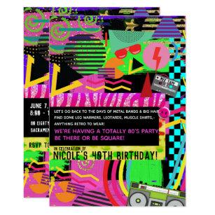 Neon Fun Bright Bold Colorful Funky 80s Party Invitation