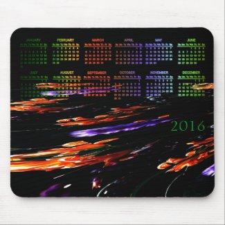 Neon Garden Abstract 2016 Calendar Mouse Pad