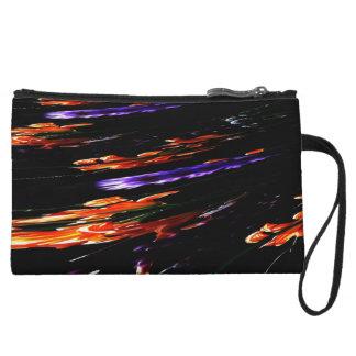 Neon Garden Abstract Wristlet Wallet