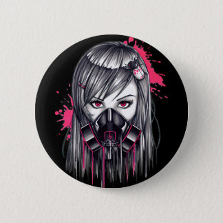 Neon Gas Mask Girl Pinback Button