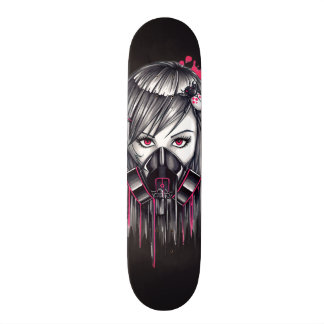 Neon Gas Mask Girl Skateboard