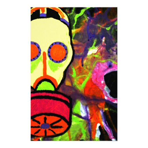Neon gas mask painting series stationery