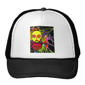 Neon gas mask painting series trucker hat