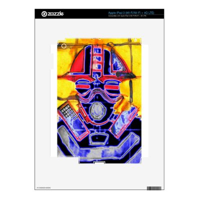neon Gas Masked Soldier v2 Decal For iPad 3