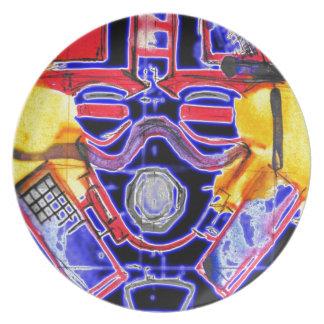 neon Gas Masked Soldier v2 Dinner Plate