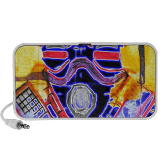 neon Gas Masked Soldier v2 Travelling Speakers