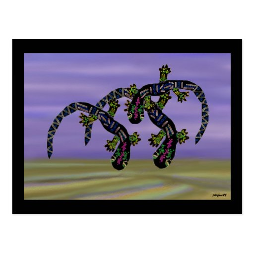 Neon Gecko Desert Dance Postcard