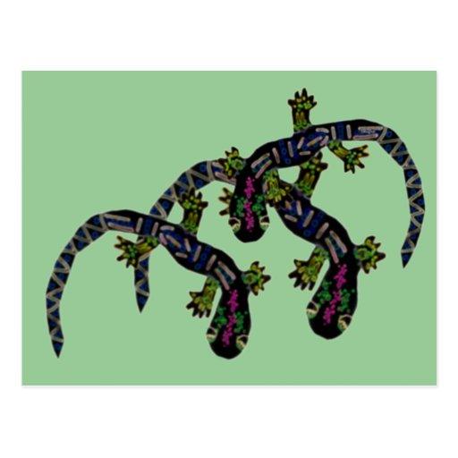 Neon Geckos Postcard