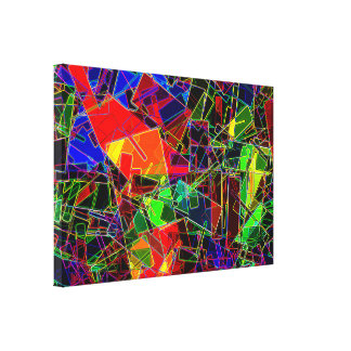 Neon Geometric Fractal Canvas Print