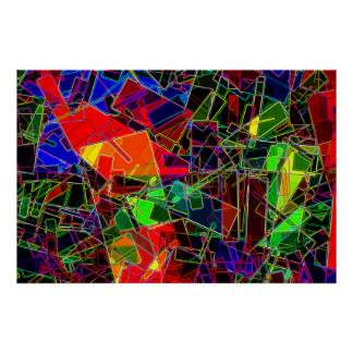 Neon Geometric Fractal Poster