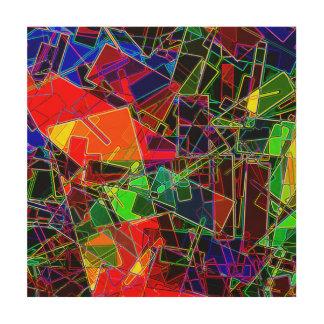 Neon Geometric Fractal Wood Wall Art