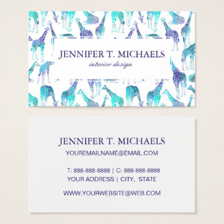 Neon Giraffes | Monogram Business Card