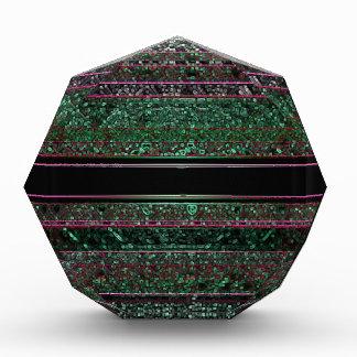Neon Glitter Green Black Purple Striped Design Acrylic Award