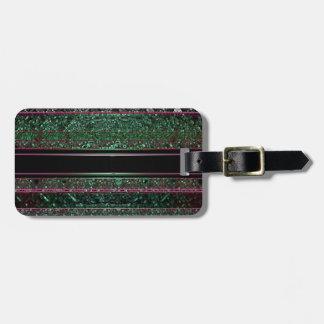 Neon Glitter Green Black Purple Striped Design Bag Tag