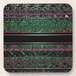 Neon Glitter Green Black Purple Striped Design Coaster
