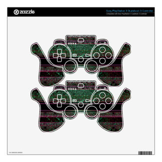 Neon Glitter Green Black Purple Striped Design PS3 Controller Skin