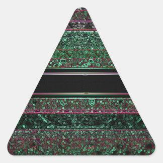 Neon Glitter Green Black Purple Striped Design Triangle Sticker