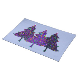 Neon Glitter Trees Placemat