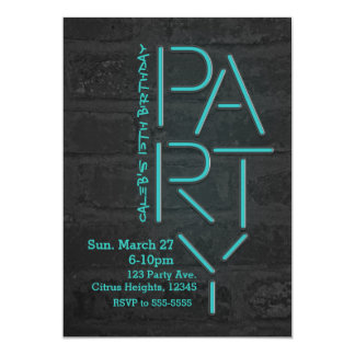 Neon Glow Blue PARTY Brick Wall Urban Invitation